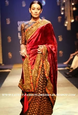 FASHION SHOW MODEL IN RED VELVET SAREE