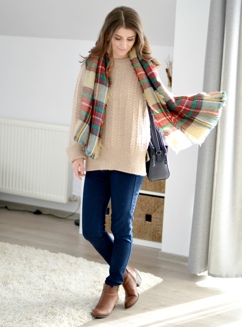 blanket tartan scarf and cable knit sweater outfit h&m