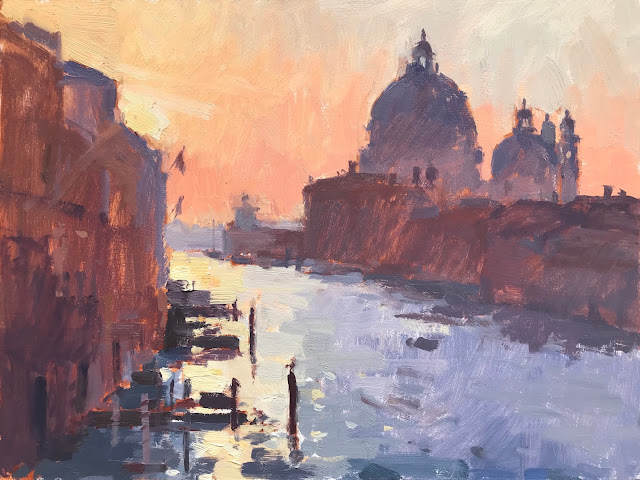 #390 'Early Sun, The Grand Canal' 10×12″