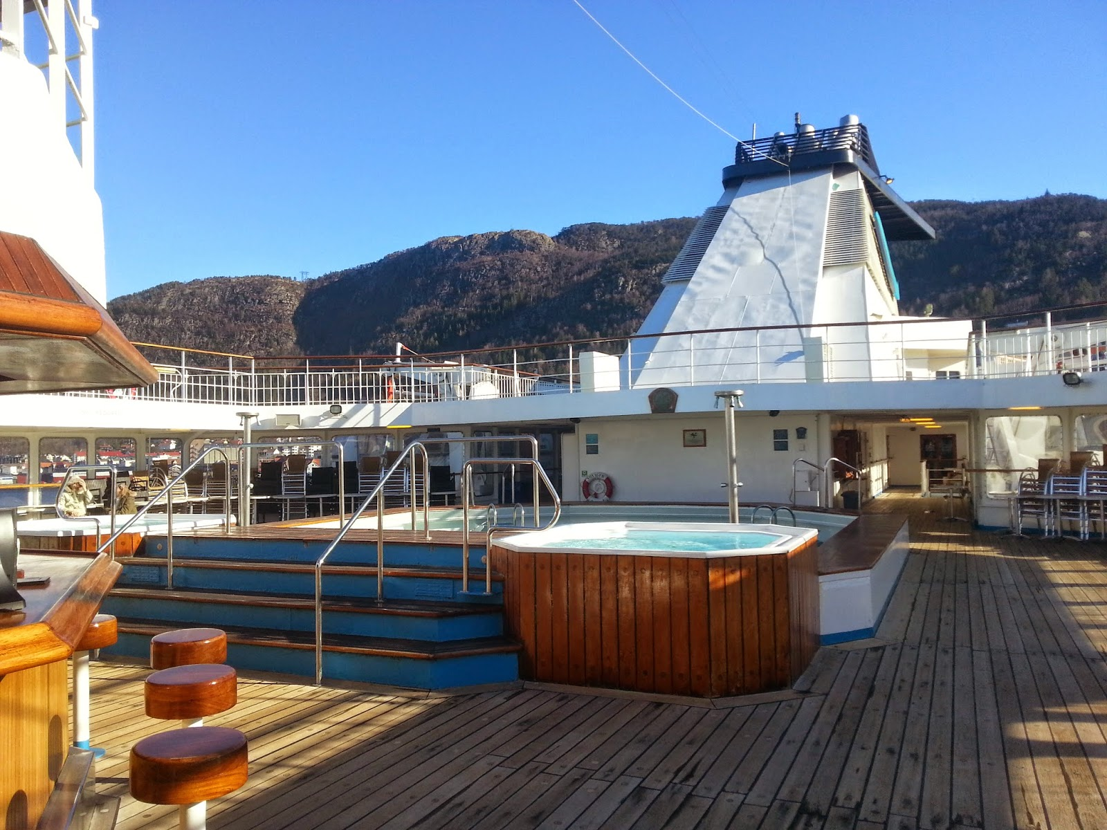 On Board Voyages of Discovery's Cruise Ship MV Voyager - Swimming Pool and Open Decks