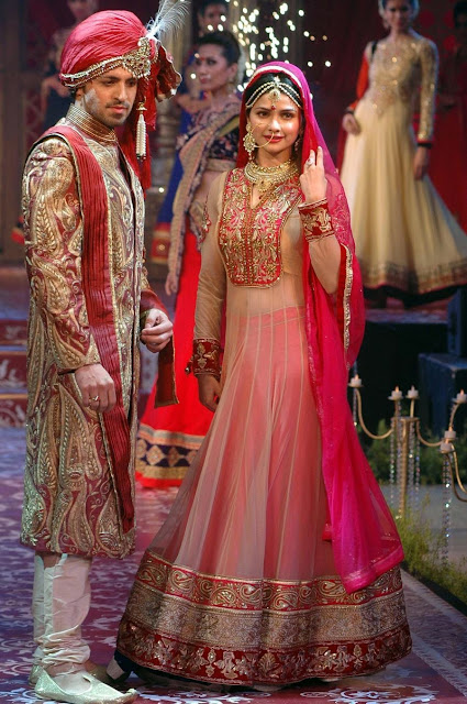 Prachi Desai Pink Bridal Heritage Anarkali Suit at Fashion Show in Kolkata