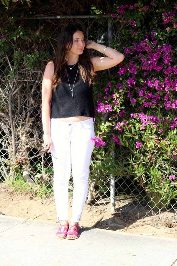 846bede95a7e7 LunaVida  Crop To It Then  Knit Top + White Jeans + Lace-Up Sandals
