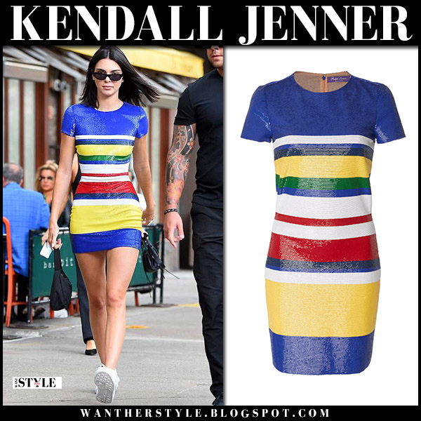 Kendall Jenner in blue and yellow striped mini dress ralph lauren model street style june 6