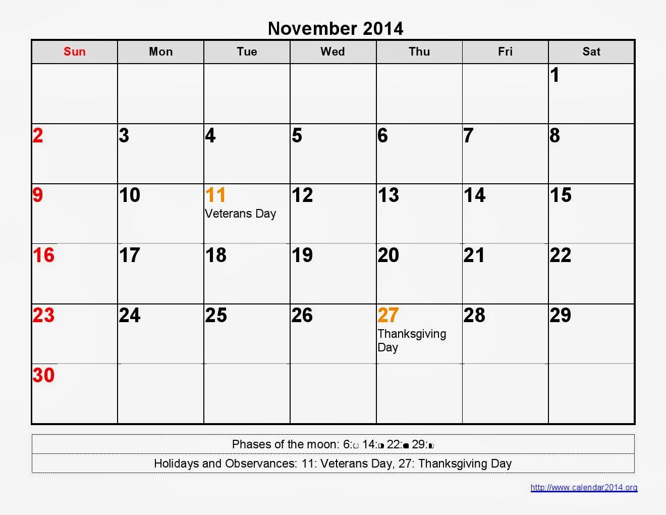 November Calendar Printable Moon Phases Printable