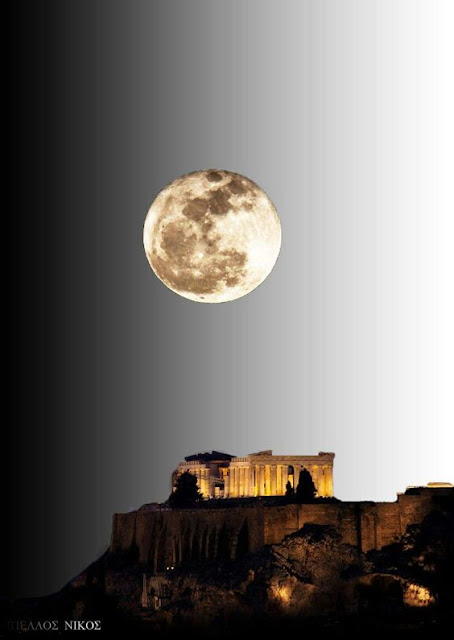 Acropolis under the light of the full moon of August