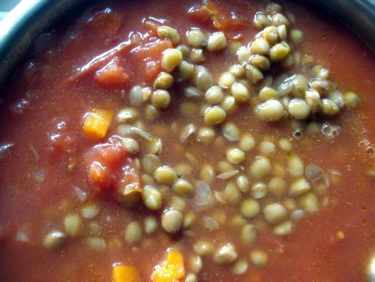stir in cooked lentils