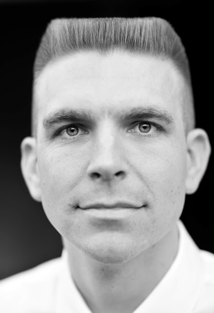 Timothy McGaffin II - Flat Top haircut, headshot, black and white