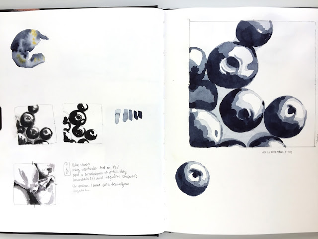 value studies in a Strathmore 500 Series Mixed Media Journal by Amy Lamp