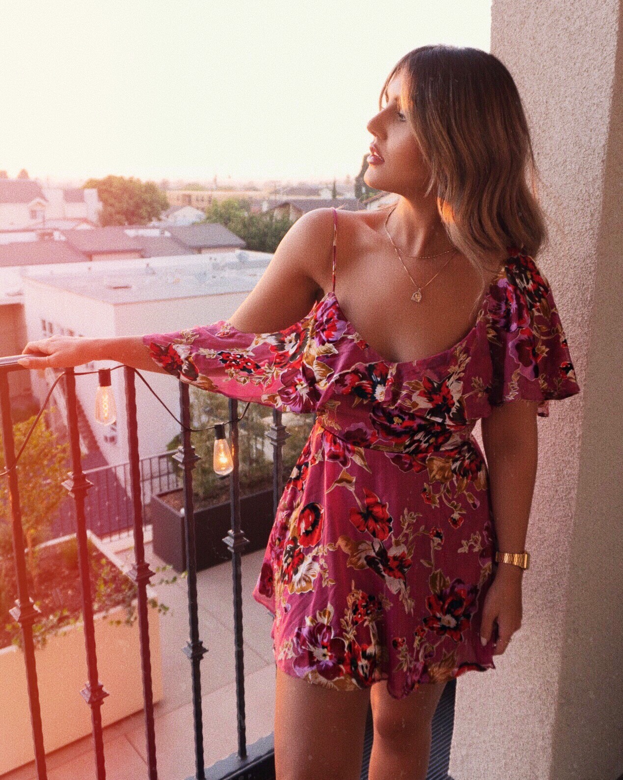 ale by Alessandra x revolve, Xiomara dress, romantic dress, romantic date night outfit, parmida Kiani, what to wear, how to style, la blogger, revolve dress, asymmetrical dress, off the shoulder dress, golden hour ottd, ottn, fashion Inspo, date night outfit, date night dress, marc Jacobs beauty truth or bare lipstick,