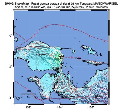 BREAKING NEWS! Gempa Berkekuatan Magnitudo 6,1 Guncang Manokwari