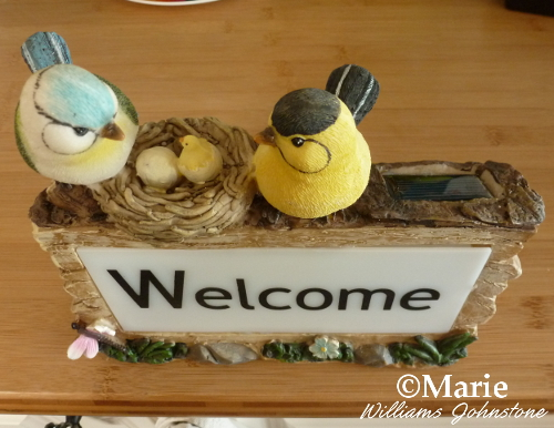 Welcome bird sign plaque for the garden