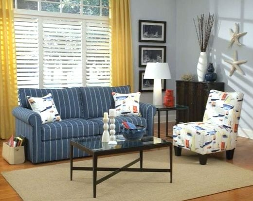 Navy Blue Stripe Sleeper Sofa Idea for the Living Room
