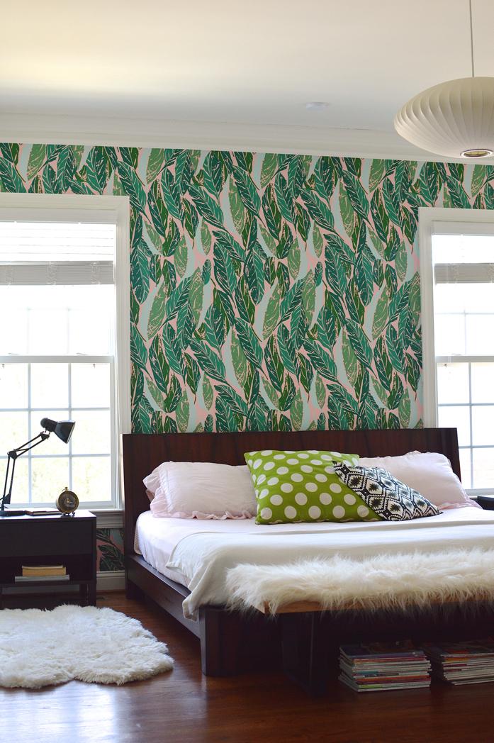 Design Addict Mom: Master Bedroom Refresh with Justina Blakeney's Nana Wallpaper!