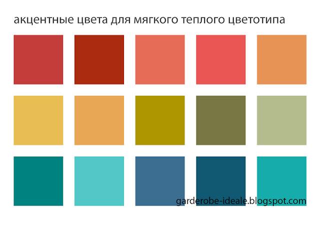 Акцентные цвета для мягкого теплого цветотипа