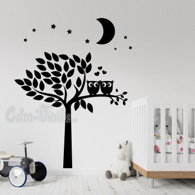 vinilo decorativo pared infantil arbol con buhos en rama luna estrellas