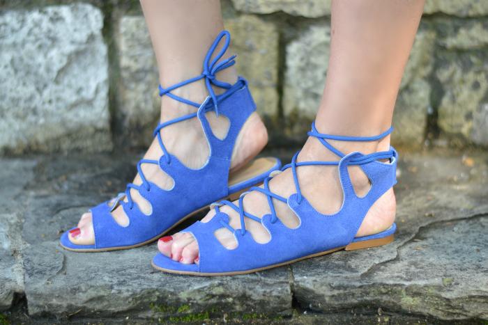sandali lacci blu