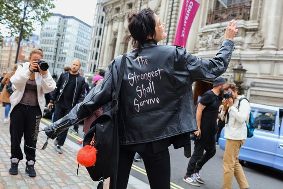 Strongest Shall Survive Leather Jacket Elle London Fashion Week LFW SS17 Street Style