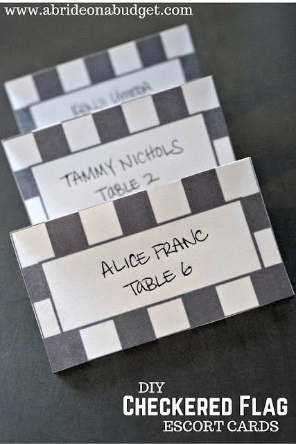 #ad Get ready for race day!   Make these DIY Checkered Flag Escort Cards from www.abrideonabudget.com!   Plus, they come with a free printable to make them too!  #RaceDayRelief