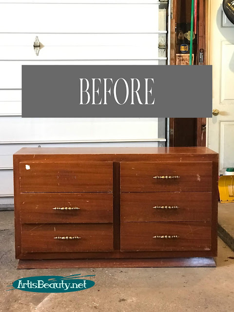 Modern Farmhouse dresser makeover BEFORE painting with general finishes new color ALABASTER