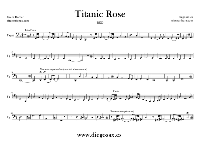"Partitura de Titanic para Fagot ""Rose Theme"". Track número 4 del CD de su banda Sonora por James Horner. Podéis tocar la partitura mientras suena la música. (Bassoon Sheet music for Titanic, Bassoon music score). Partituras en Clave de Fa en 4º línea"