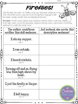 Using Fireflies to teach the importance of word choice in writing: A mentor text activity that focuses on revising sentences! Multiple FREE printables included! - Crafting Connections with Deb Hanson