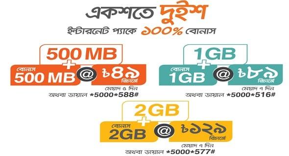 banglalink 100% internet-data BONUS on 500MB, 1GB, 2GB pack