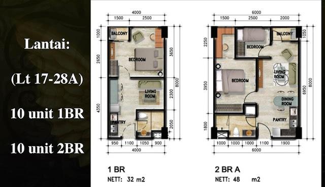 Tipe Unit Apartemen Crown Sky Alam Sutera