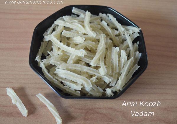 Arisi Koozh Vadam / Rice flour vadam