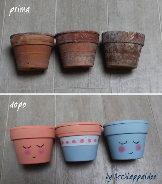 Dettaglio sul prima e dopo dei vasi terracotta dipinti