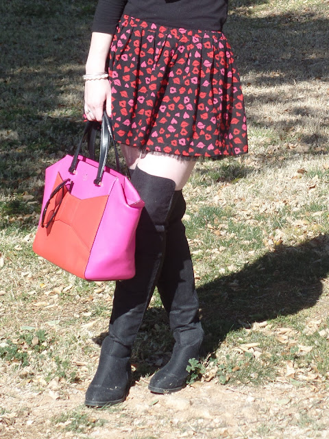 over the knee boots, patterned skirt, and Kate Spade beau bag