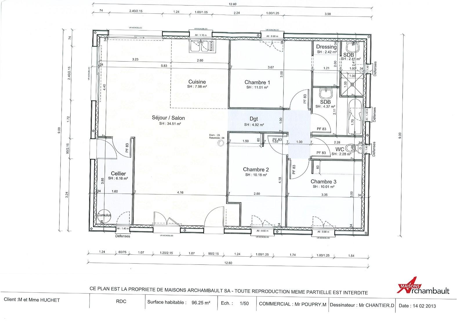 Maison Sponsorisée 41 - Label : RT 2012 à Oucques (41290): Plan intérieur de la maison
