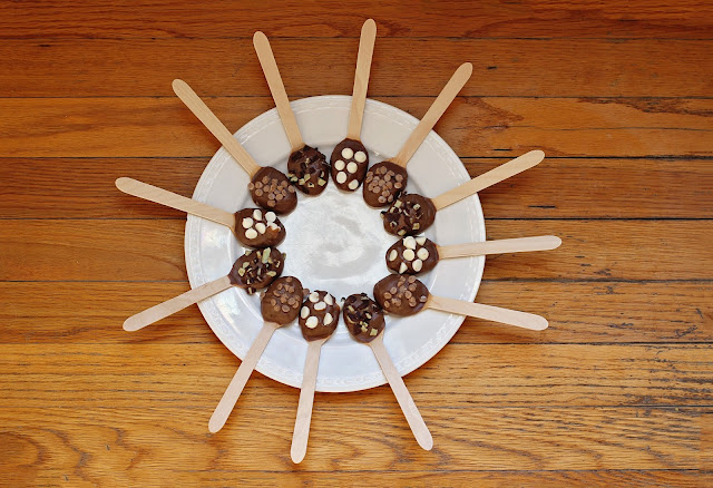 Chocolate Dipped Spoons with Toppings for Hot Chocolate