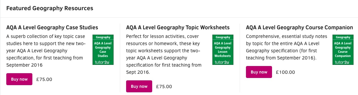 Tutor2U Resources for AQA Geography