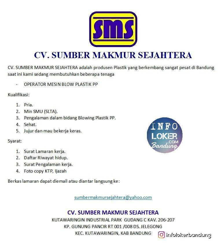 Lowongan Kerja CV. Sumber Makmur Sejahtera Bandung November 2018