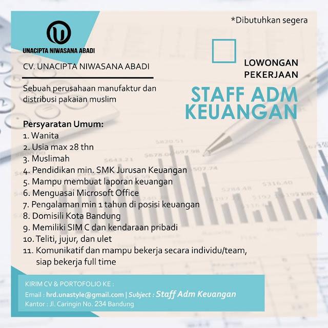 Lowongan Kerja Staff Admin Keuangan