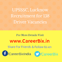 UPSSSC, Lucknow Recruitment for 138 Driver Vacancies