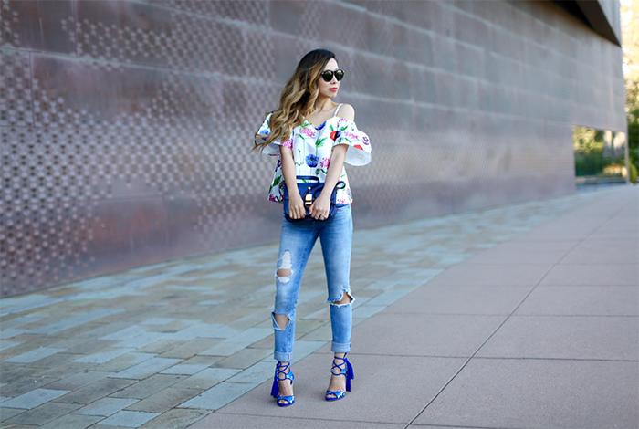 renamed floral off shoulder top, blank denim ripped jeans, paul andrew tassel sandals, karen walker harvest sunglasses, celine classic box bag, date night outfit, romantic outfit attire