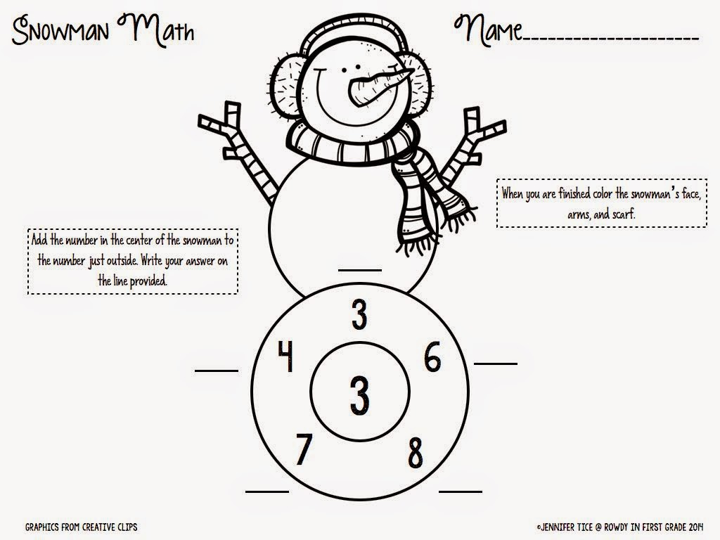 Snowman Math Races An Indoor Recess Solution