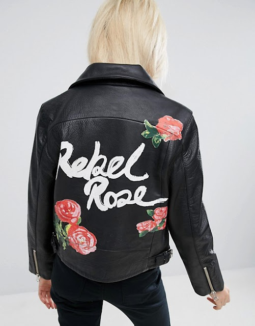 rebel rose leather jacket, print back leather jacket, writing back leather jacket,