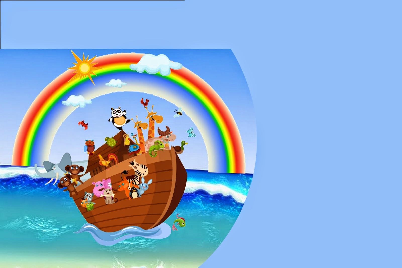 Noah's Ark in Light Blue: Free Printable Invitations.