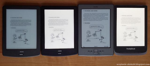 InkBOOK LUMOS, InkBOOK Classic 2, PocketBook Touch HD 3, Kindle 4 – porównanie ekranów. Włączone podświetlenie robi różnicę