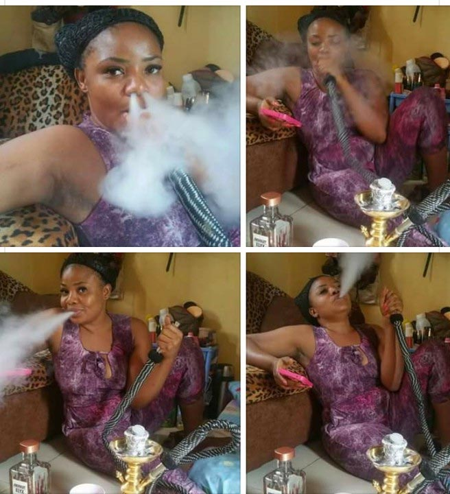 Lady posts picture of herself smoking shisha like a chimney