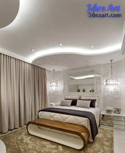 New False Ceiling Designs Ideas For Bedroom With LED Lights - Latest fall ceiling designs for bedrooms