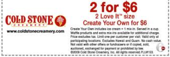 image relating to Cold Stone Printable Coupons named Chilly stone printable discount coupons july 2018 / Chase coupon 125