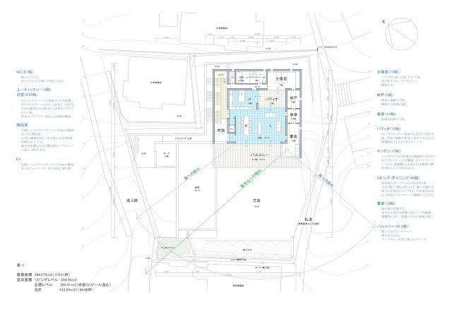 相模湾を望む白い大広間の家 平面計画 主階