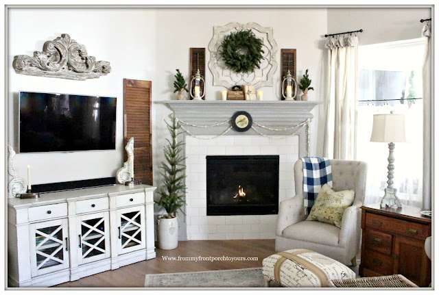 Winter Mantel-French Country-Farmhouse-Living Room-Buffalo Check-Vintage Style-Cottage Style-From My Front Porch To Yours