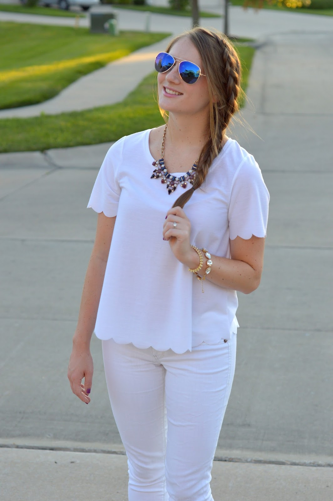white scalloped top with white jeans