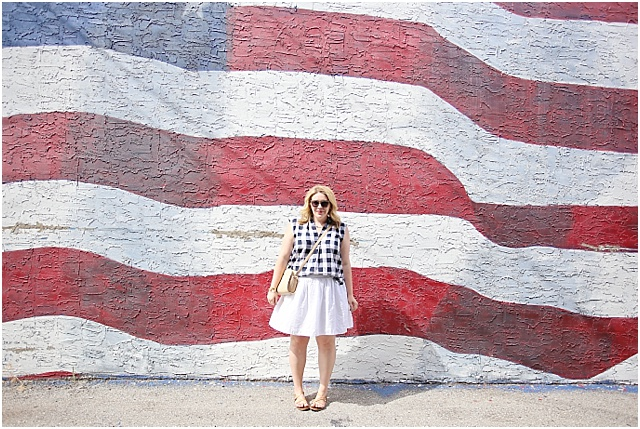 4th of July outfit with gingham and white skirt