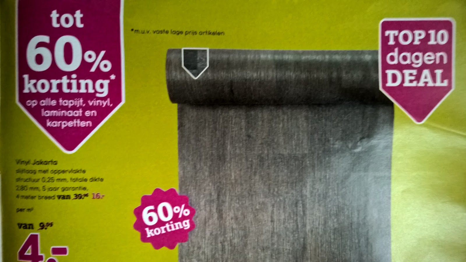 Vinyl vloer aanbieding leen bakker mat voor onder bureaustoel