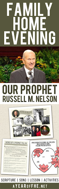 A Year of FHE // A Family Home Evening all about the life of LDS Prophet President Russell M. Nelson.  This lesson plan includes scripture, song, lesson and activities. There is a poster of Russell M. Nelson's life in photos, a puzzle for young children and a great scripture fill-in activity for older kids and teens.  Your FHE is read, just CLICK, PRINT, and TEACH! #lds #prophet #nelson